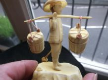 GENUINE VINTAGE CREAMY CELLULOID FIGURINE CHINESE BOY CARRYING WATER BUCKETS